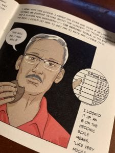 illustration, Hirway's Dad eating a cookie