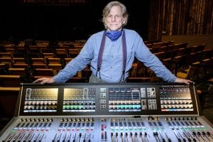 Brian Walker behind the soundboard at the Freight & Salvage