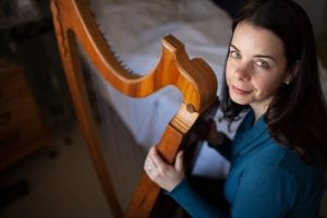 Jennifer Hollis with her harp